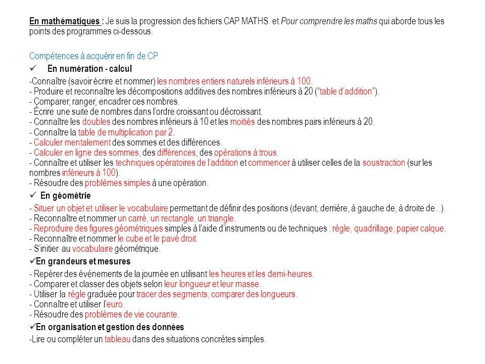 En mathématiques : Je suis la progression des fichiers CAP MATHS et Pour comprendre les maths qui aborde tous les points des programmes ci-dessous.