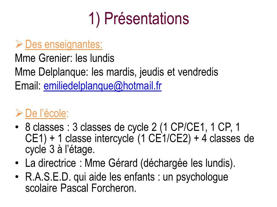1) Présentations Des enseignantes: Mme Grenier: les lundis