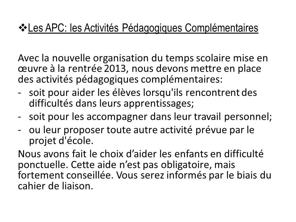 Les APC: les Activités Pédagogiques Complémentaires