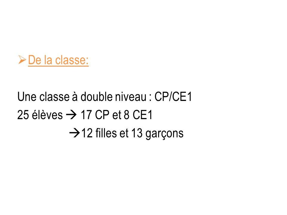 De la classe: Une classe à double niveau : CP/CE1.