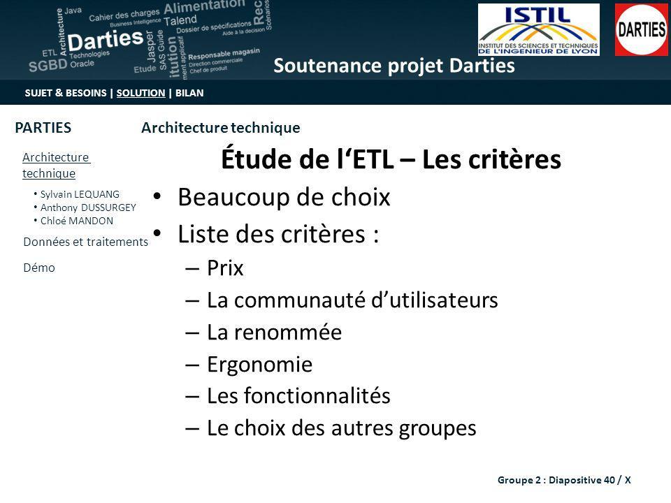 Étude de l'ETL – Les critères