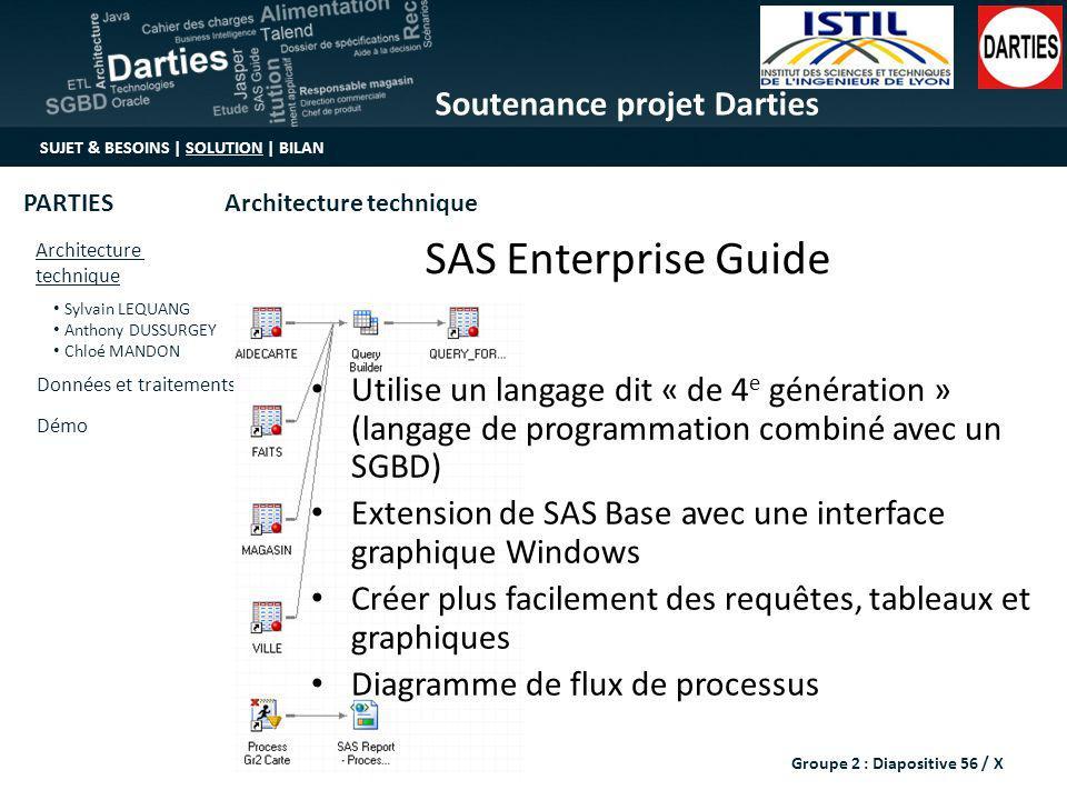 SAS Enterprise Guide Utilise un langage dit « de 4e génération » (langage de programmation combiné avec un SGBD)