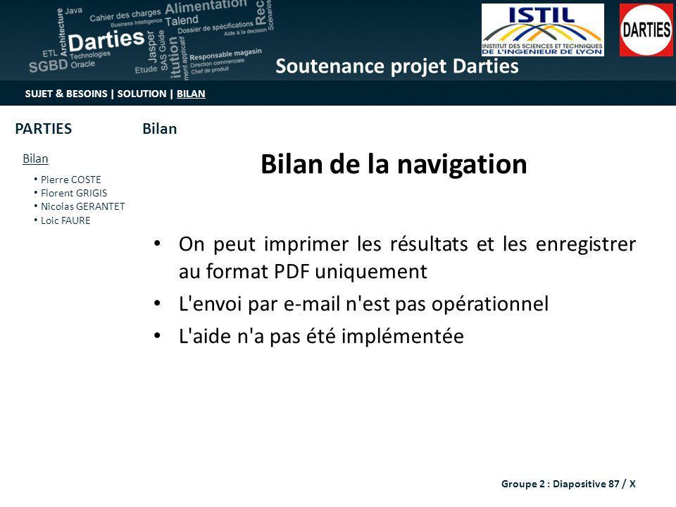 Bilan de la navigation On peut imprimer les résultats et les enregistrer au format PDF uniquement. L envoi par e-mail n est pas opérationnel.