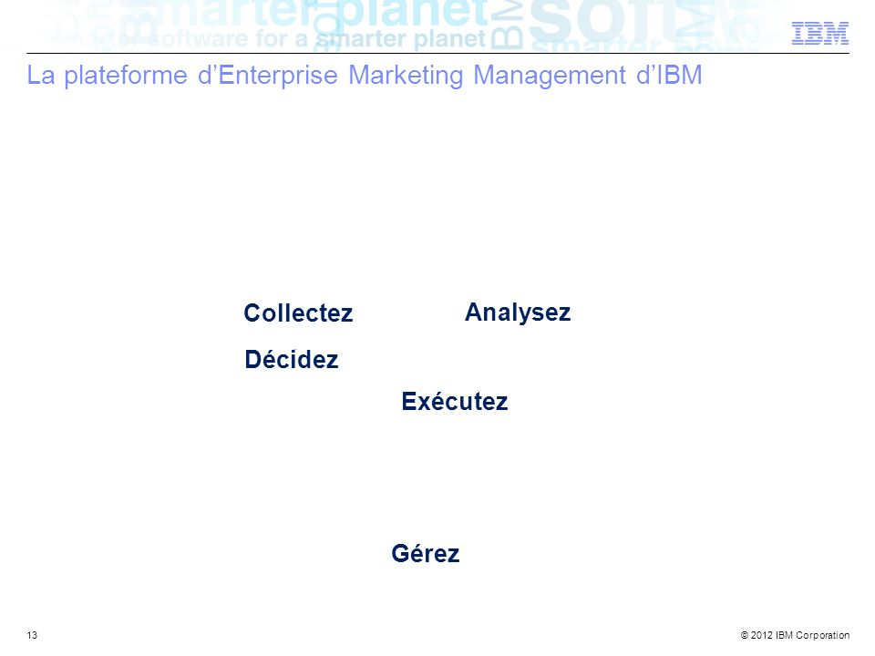 La plateforme d'Enterprise Marketing Management d'IBM