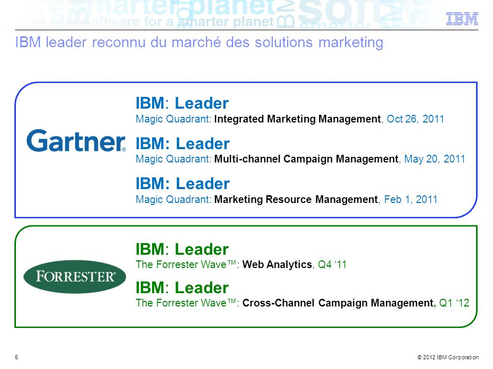 IBM leader reconnu du marché des solutions marketing