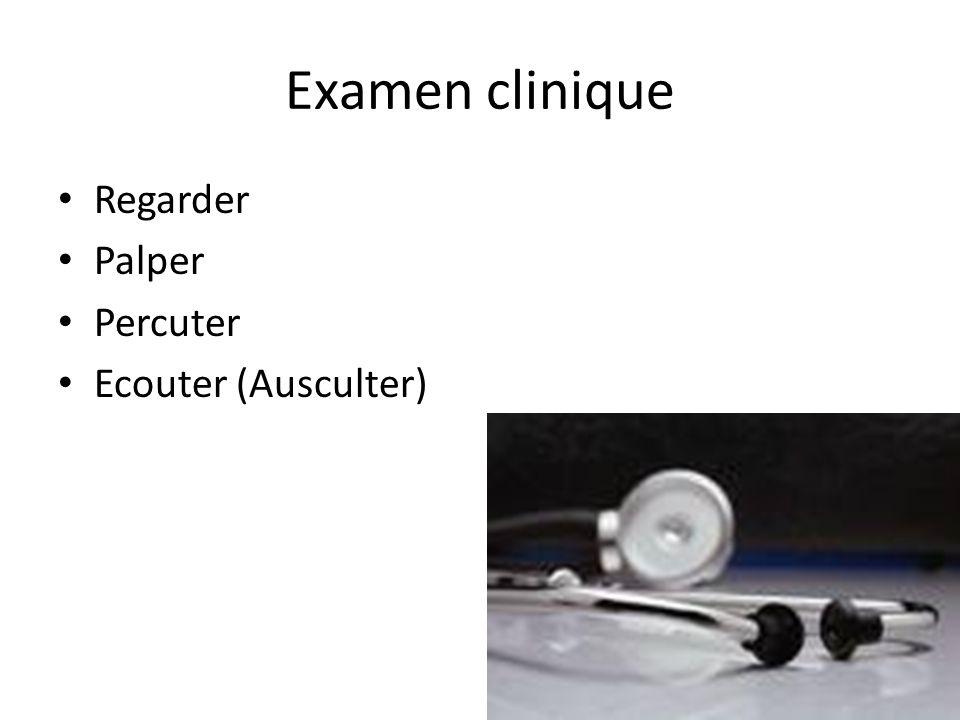 Examen clinique Regarder Palper Percuter Ecouter (Ausculter)