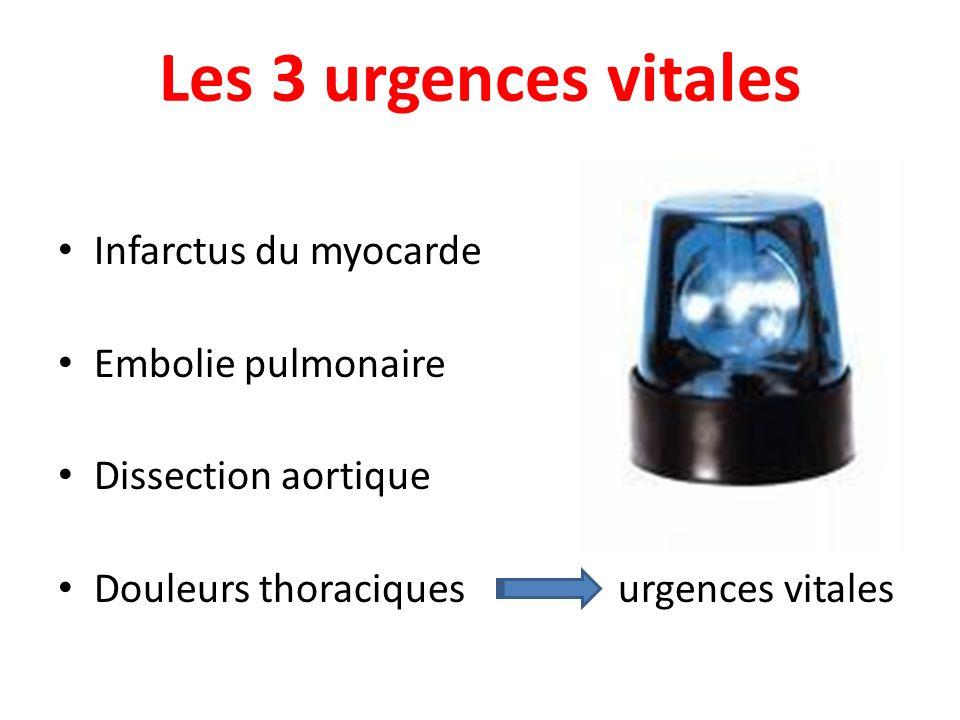 Les 3 urgences vitales Infarctus du myocarde Embolie pulmonaire