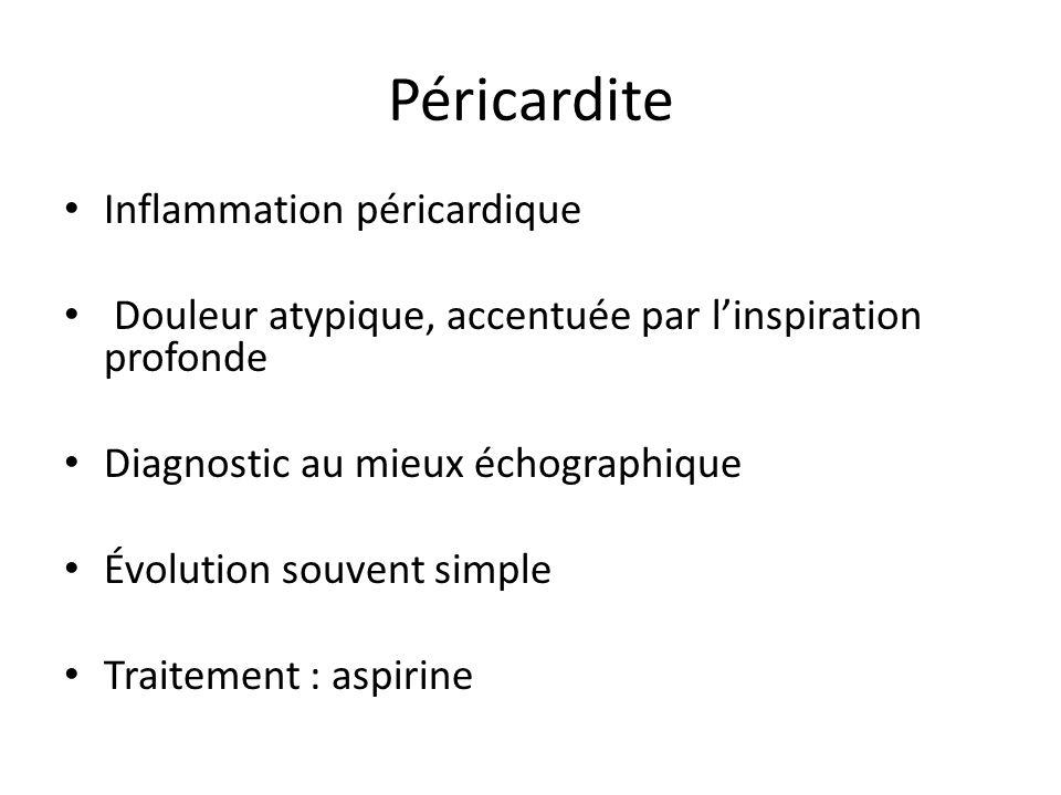 Péricardite Inflammation péricardique