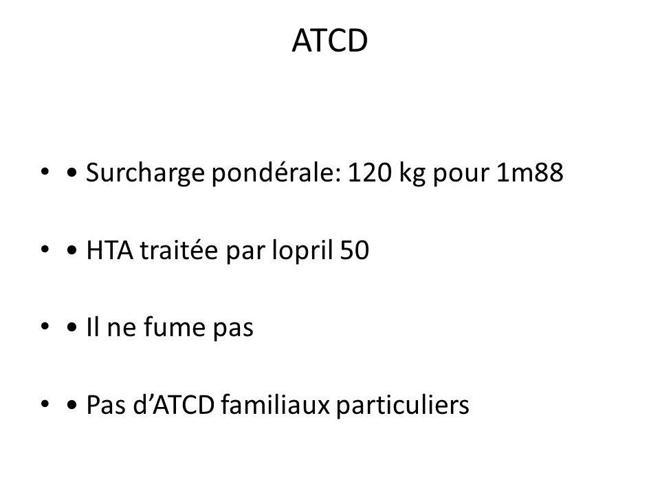 ATCD • Surcharge pondérale: 120 kg pour 1m88
