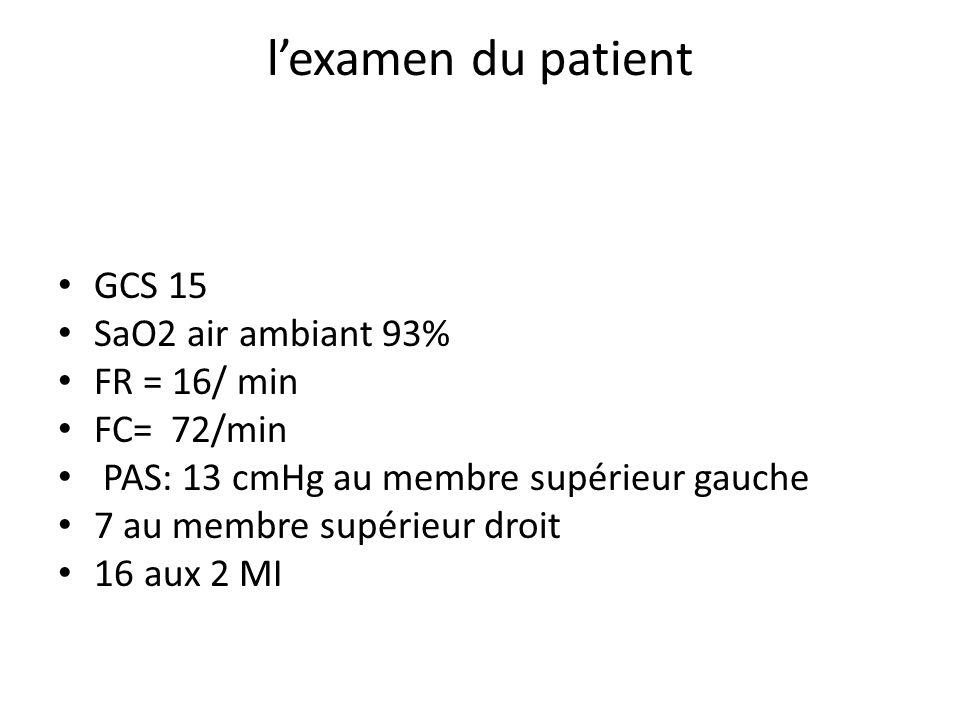 l'examen du patient GCS 15 SaO2 air ambiant 93% FR = 16/ min