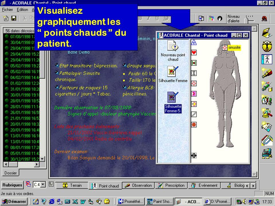 Visualisez graphiquement les points chauds du patient.