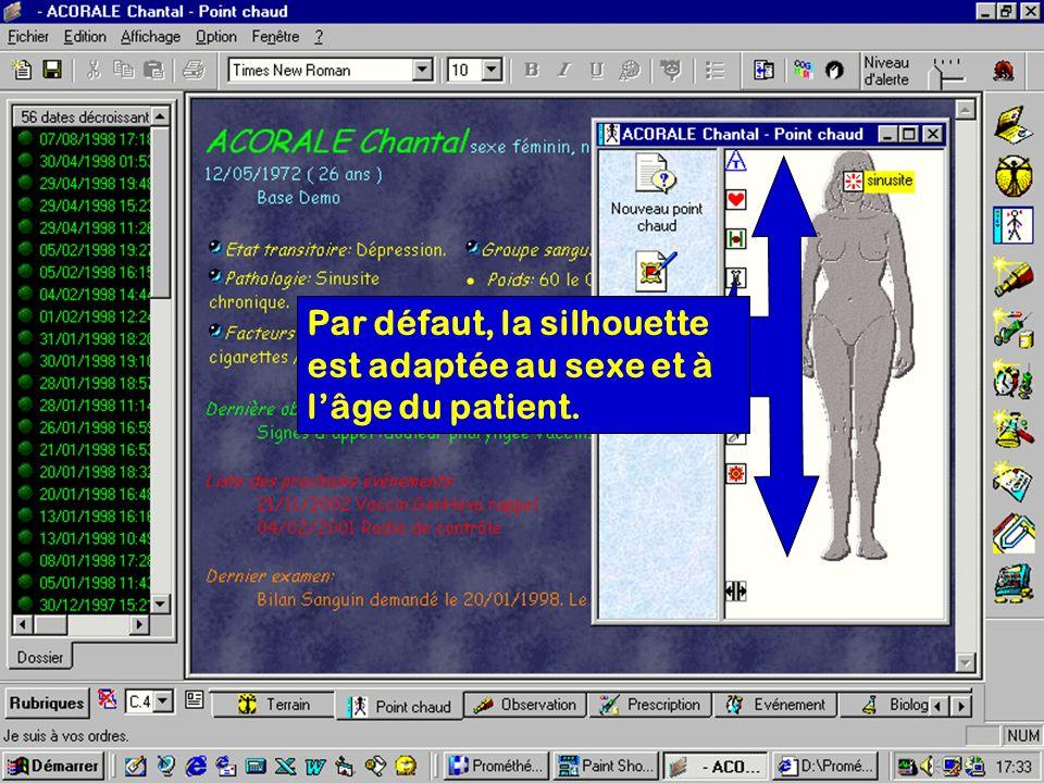 Par défaut, la silhouette est adaptée au sexe et à l'âge du patient.
