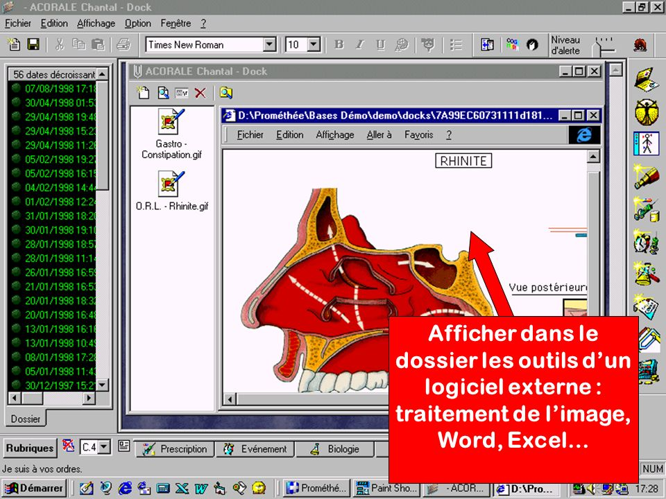 Afficher dans le dossier les outils d'un logiciel externe : traitement de l'image, Word, Excel…