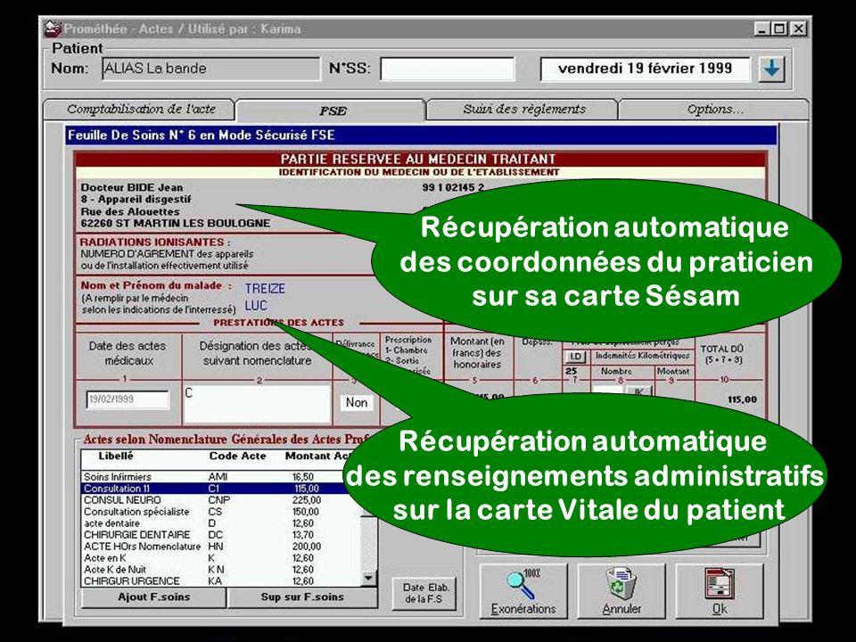Récupération automatique des coordonnées du praticien