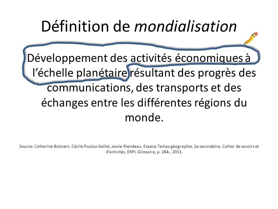 Définition de mondialisation