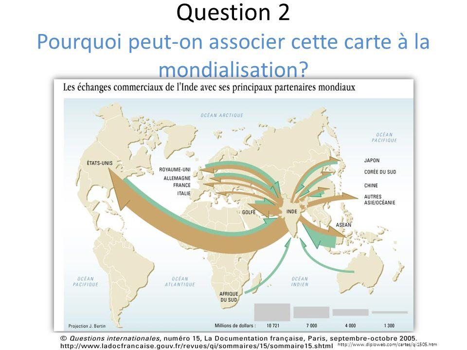 Question 2 Pourquoi peut-on associer cette carte à la mondialisation