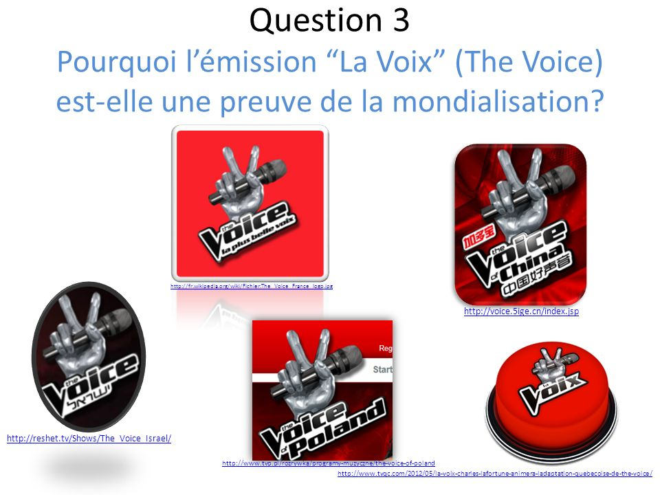 Question 3 Pourquoi l'émission La Voix (The Voice) est-elle une preuve de la mondialisation