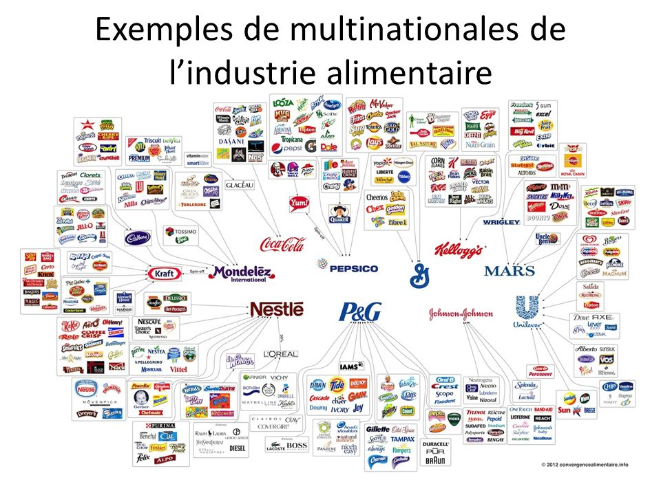 Exemples de multinationales de l'industrie alimentaire