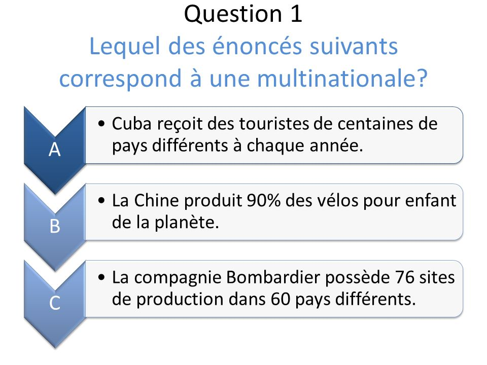 Question 1 Lequel des énoncés suivants correspond à une multinationale