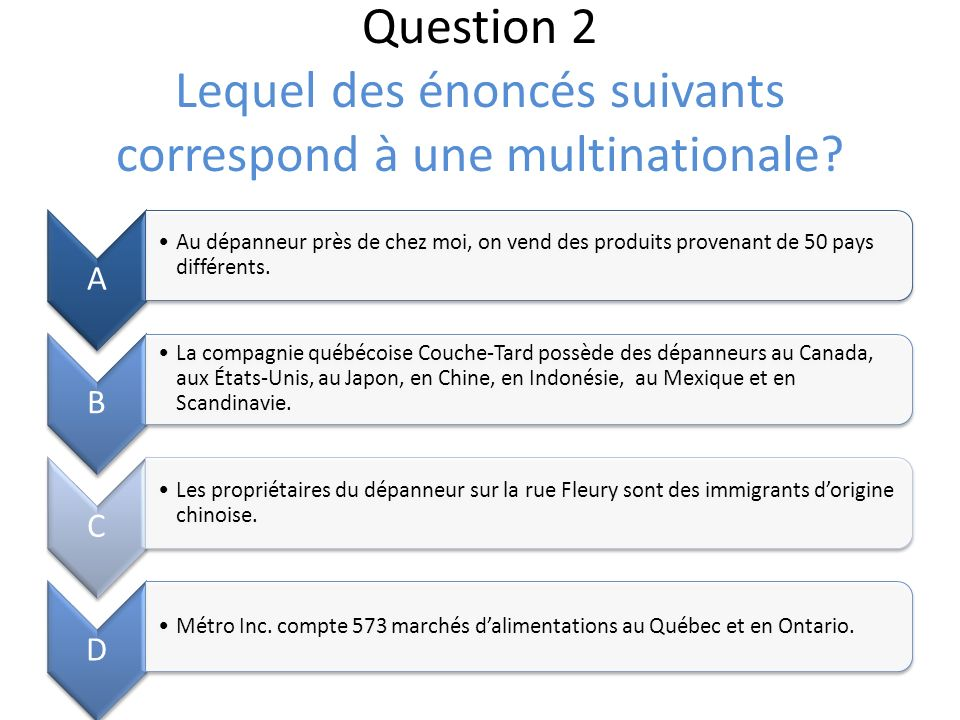 Question 2 Lequel des énoncés suivants correspond à une multinationale