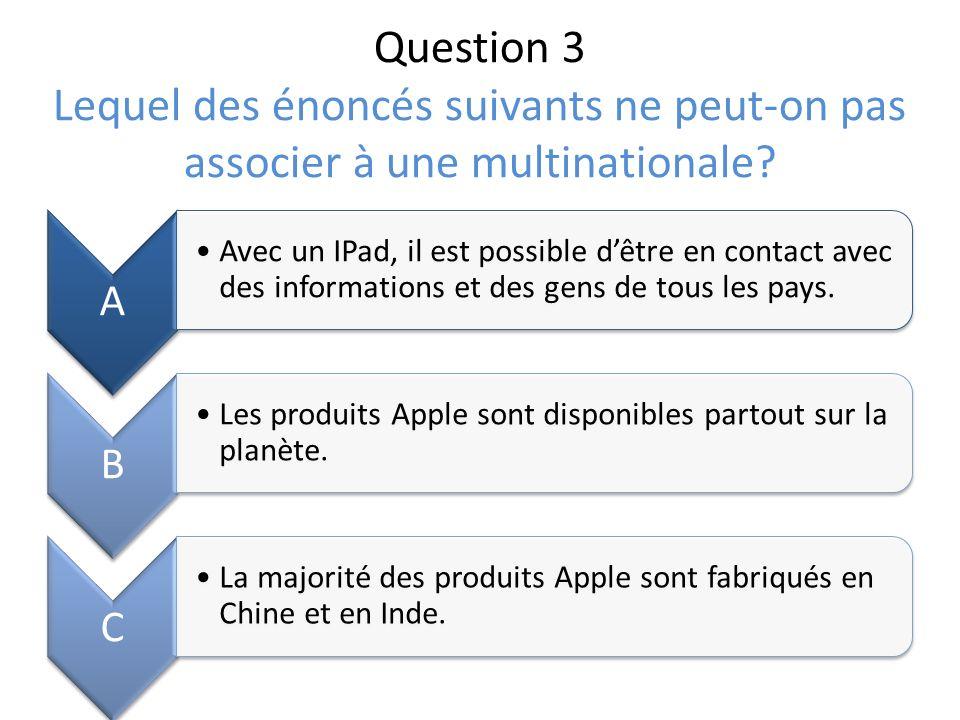 Question 3 Lequel des énoncés suivants ne peut-on pas associer à une multinationale