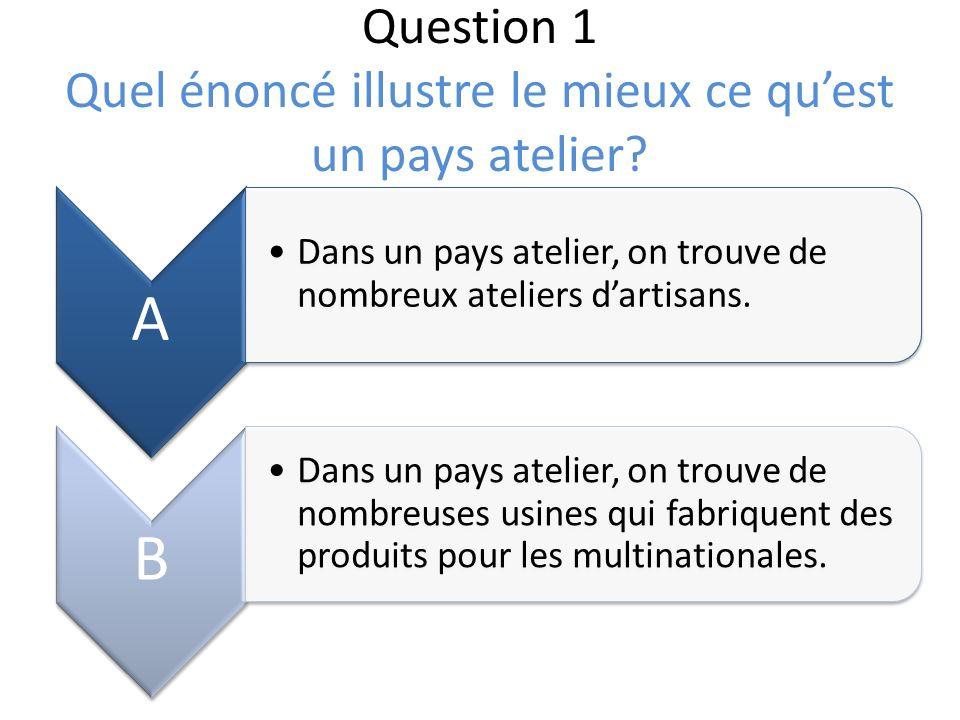 Question 1 Quel énoncé illustre le mieux ce qu'est un pays atelier