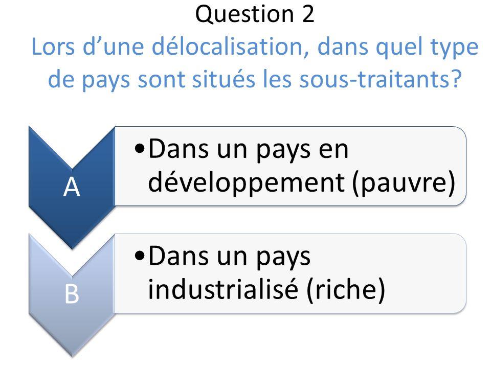 Question 2 Lors d'une délocalisation, dans quel type de pays sont situés les sous-traitants