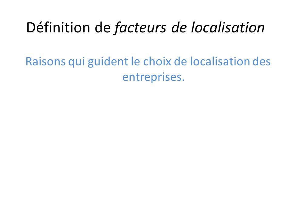 Définition de facteurs de localisation