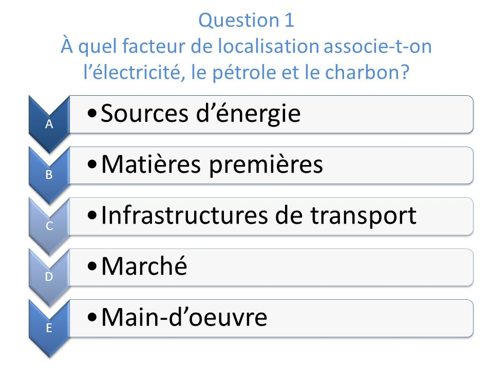 Question 1 À quel facteur de localisation associe-t-on l'électricité, le pétrole et le charbon