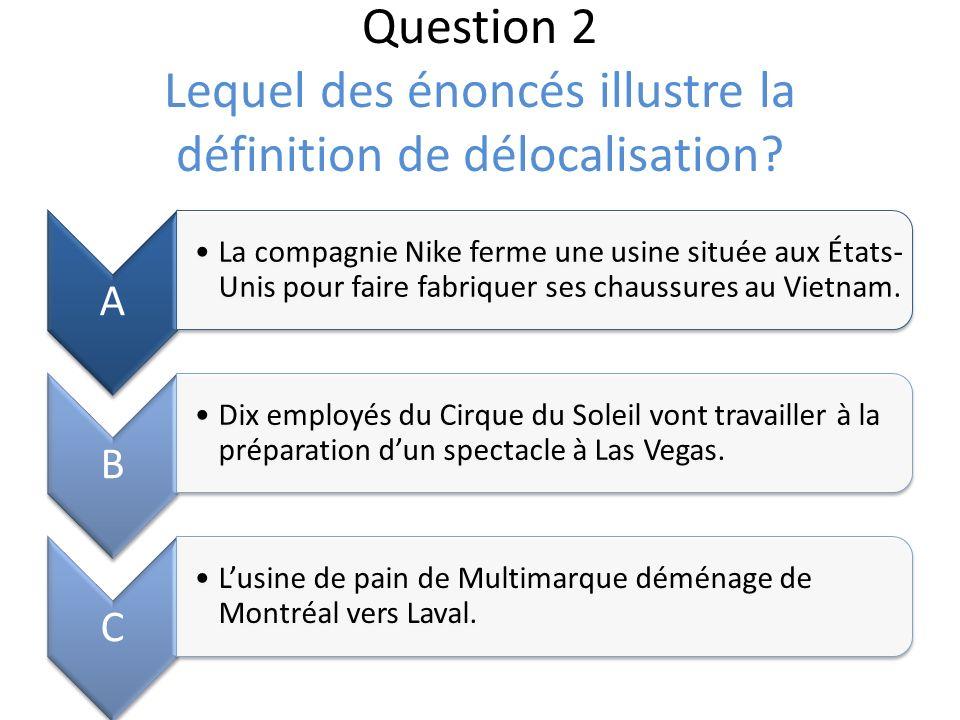 Question 2 Lequel des énoncés illustre la définition de délocalisation