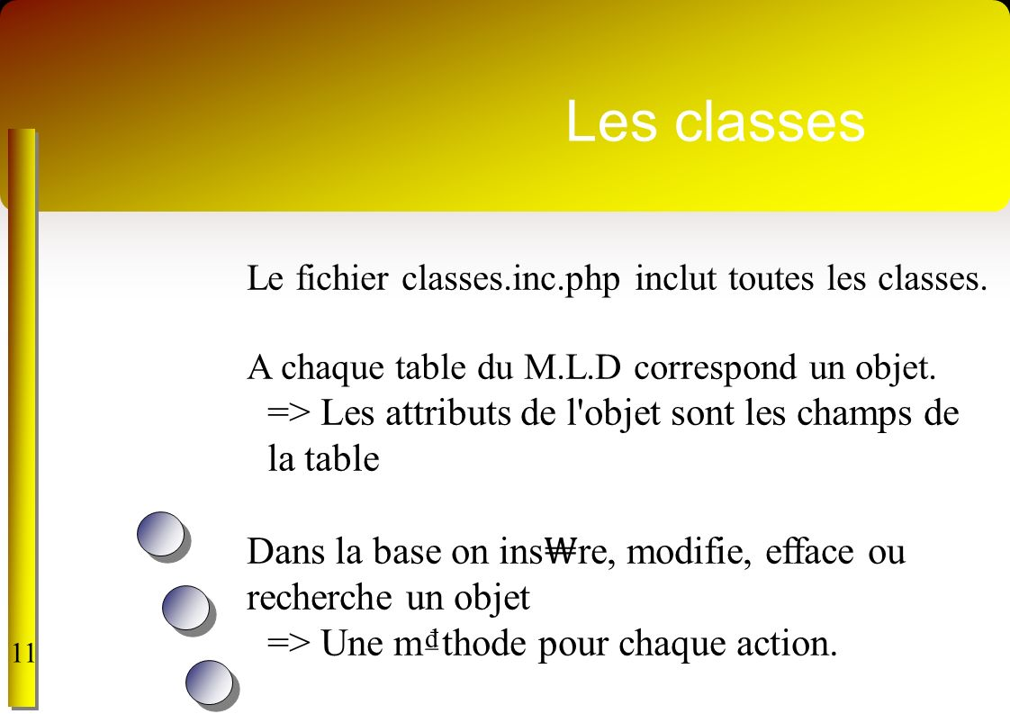 Les classes => Les attributs de l objet sont les champs de la table