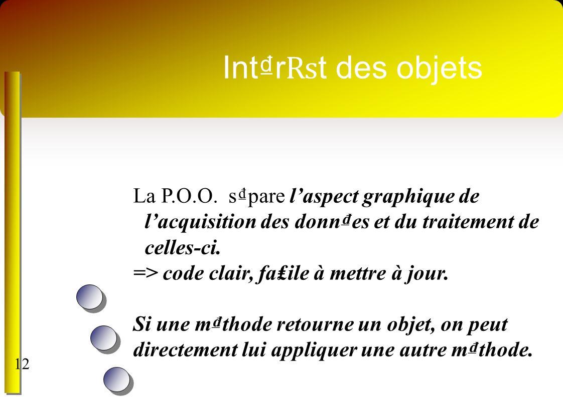 Int₫r₨t des objets La P.O.O. s₫pare l'aspect graphique de l'acquisition des donn₫es et du traitement de celles-ci.
