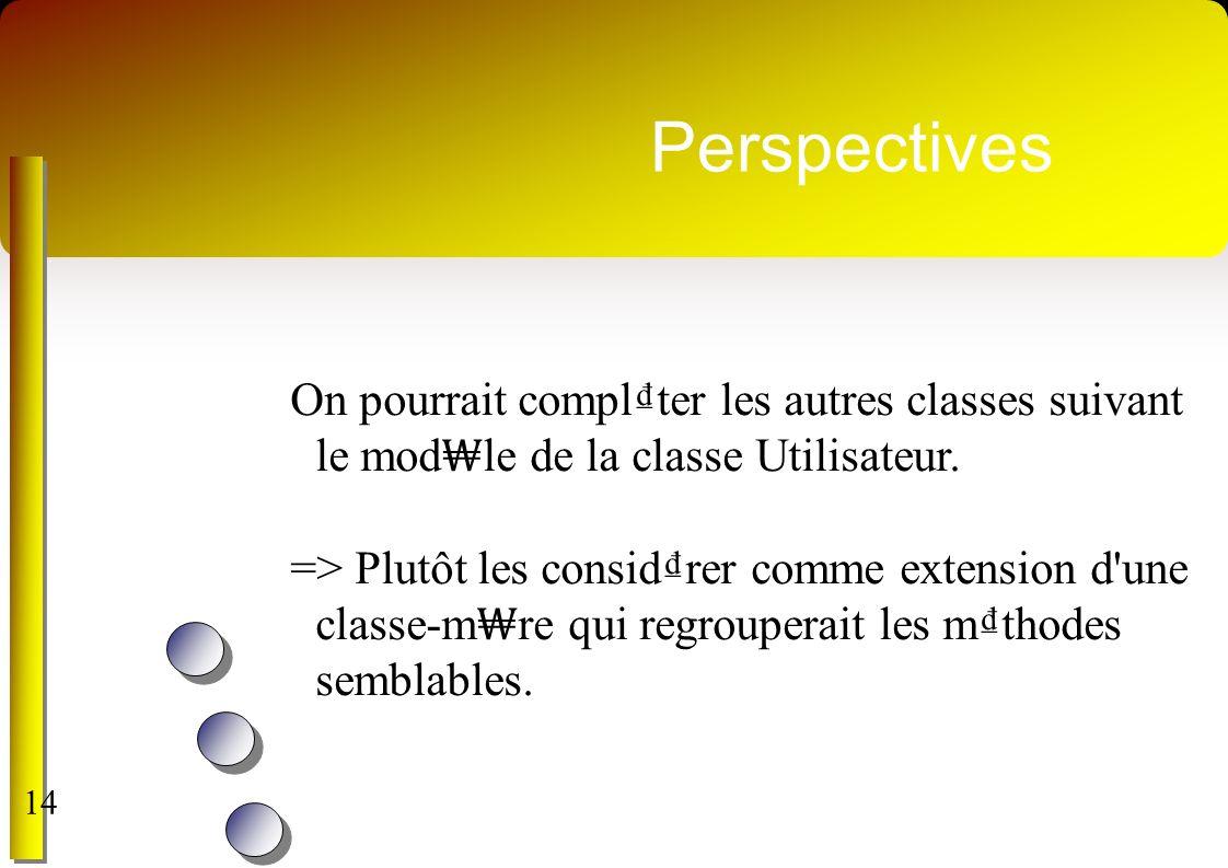 Perspectives On pourrait compl₫ter les autres classes suivant le mod₩le de la classe Utilisateur.