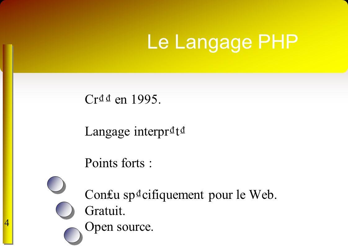 Le Langage PHP Cr₫₫ en 1995. Langage interpr₫t₫ Points forts :