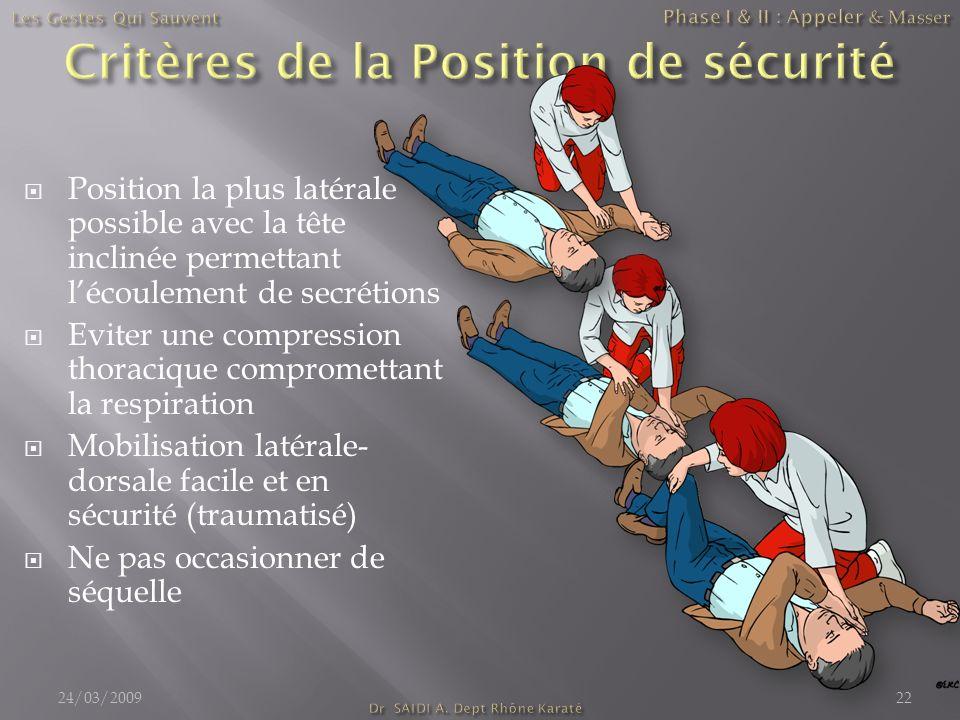 Critères de la Position de sécurité
