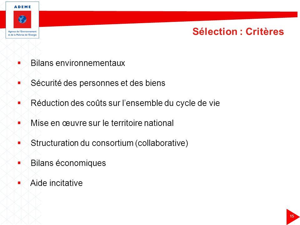 Sélection : Critères Bilans environnementaux
