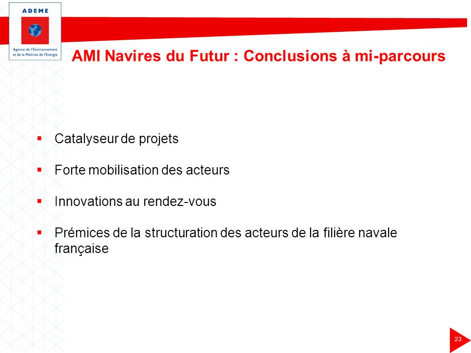 AMI Navires du Futur : Conclusions à mi-parcours