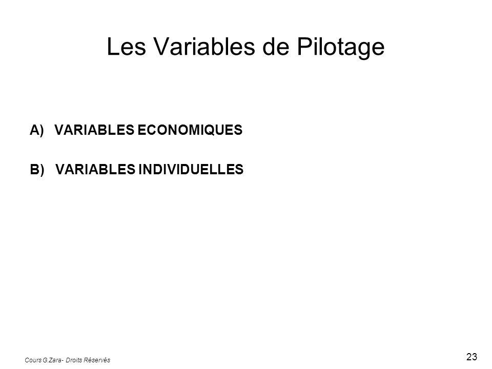 Les Variables de Pilotage
