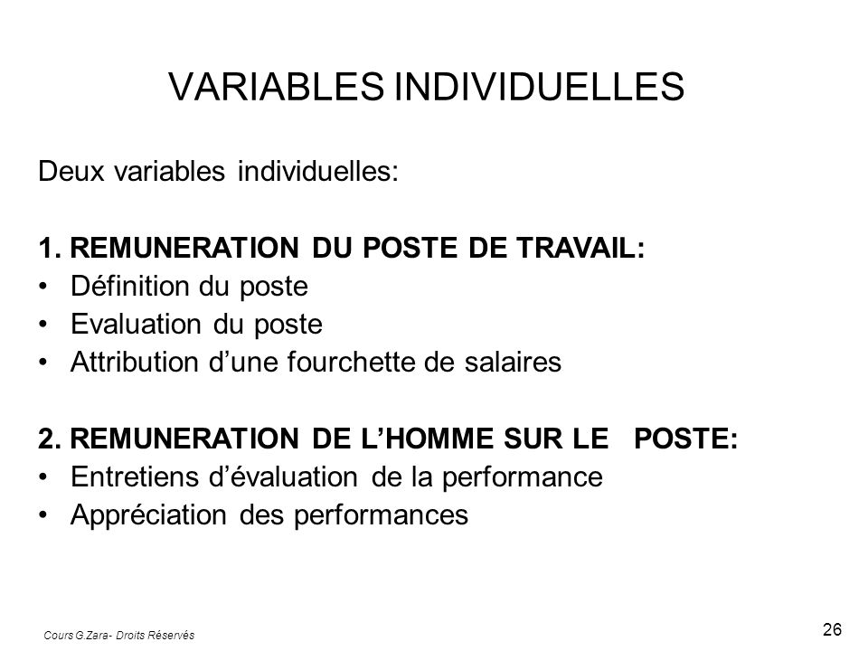 VARIABLES INDIVIDUELLES