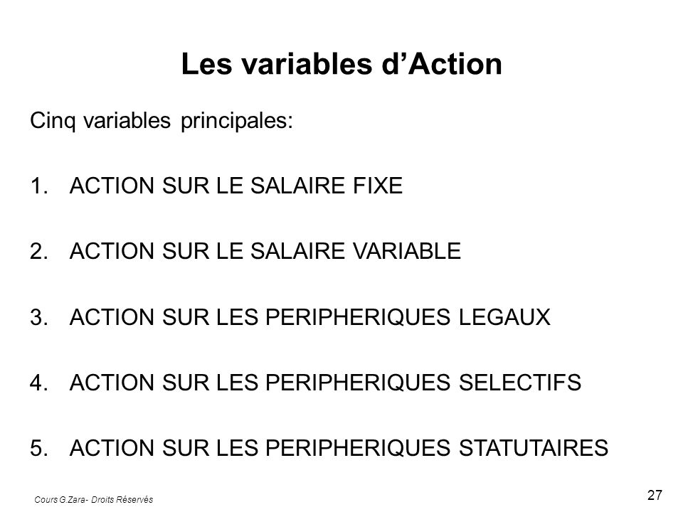 Les variables d'Action