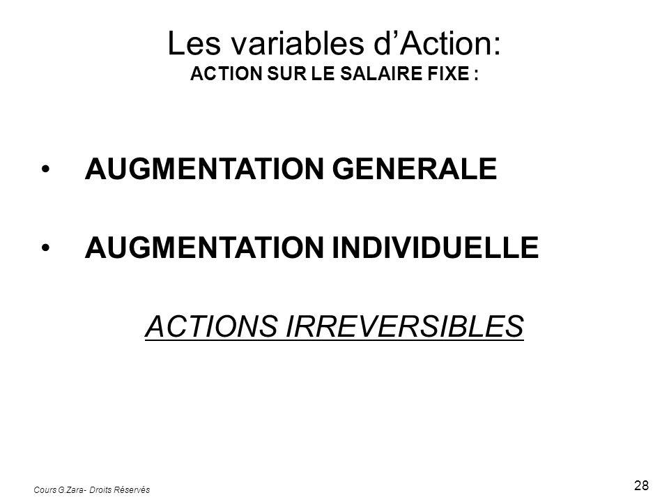 Les variables d'Action: ACTION SUR LE SALAIRE FIXE :