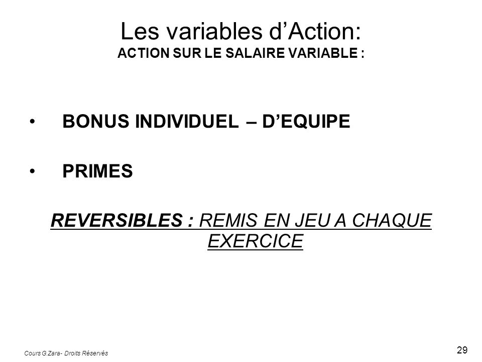 Les variables d'Action: ACTION SUR LE SALAIRE VARIABLE :
