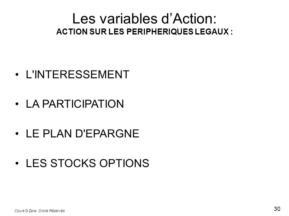 Les variables d'Action: ACTION SUR LES PERIPHERIQUES LEGAUX :