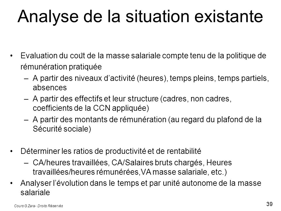 Analyse de la situation existante