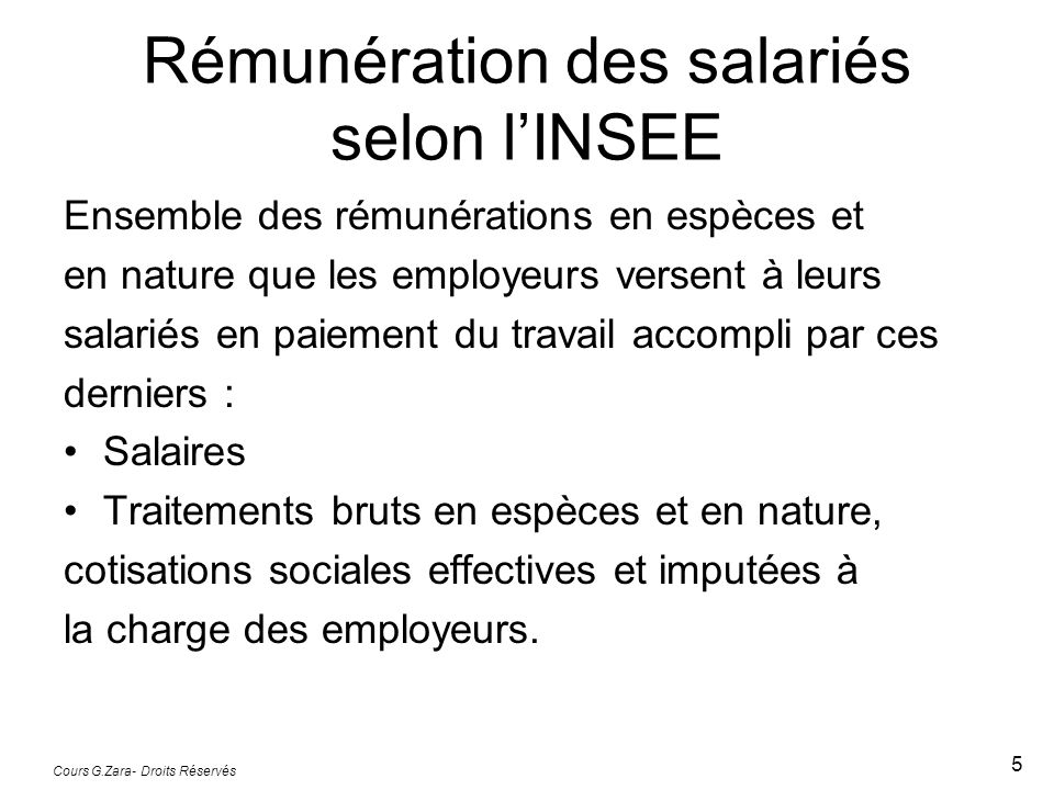 Rémunération des salariés selon l'INSEE