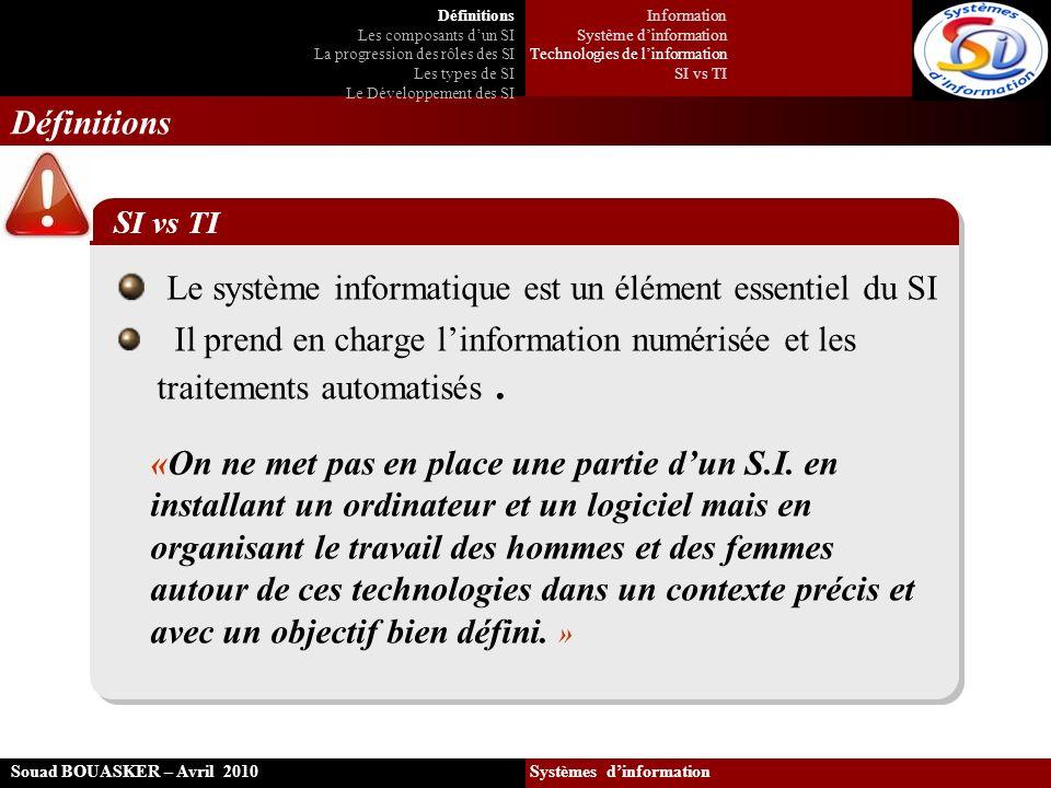 Le système informatique est un élément essentiel du SI