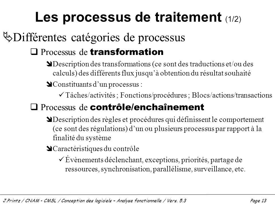 Les processus de traitement (1/2)