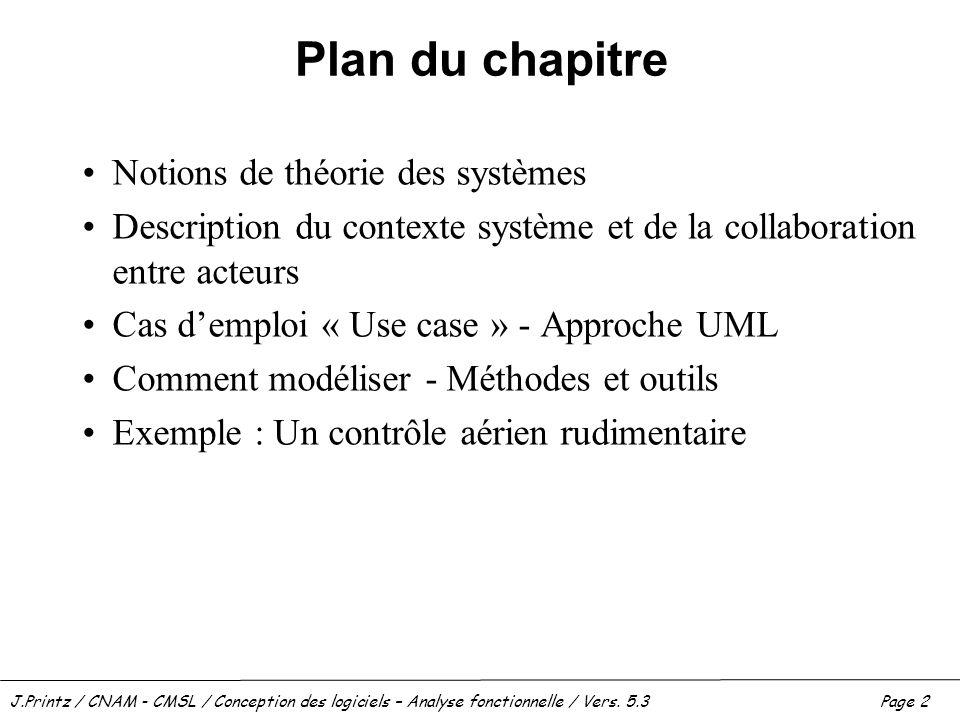 Plan du chapitre Notions de théorie des systèmes