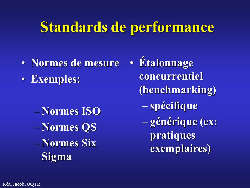 Standards de performance