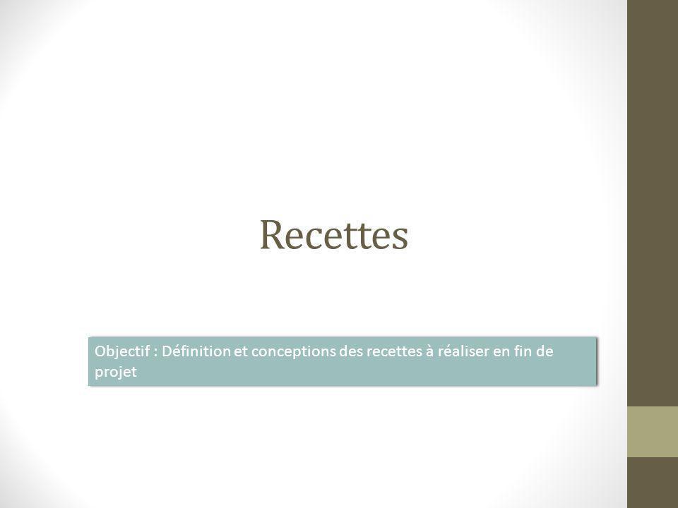 Recettes Objectif : Définition et conceptions des recettes à réaliser en fin de projet